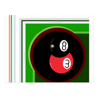POOL BLACK AND RED BALL POST CARDS