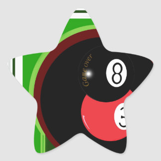 POOL BLACK AND RED BALL STAR STICKER