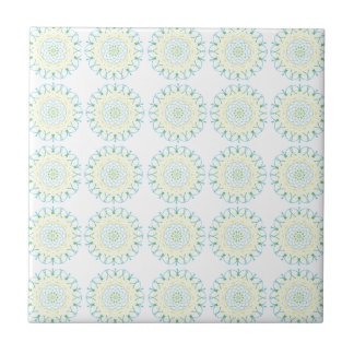 Pool Blue and Pale Yellow Pattern Tile