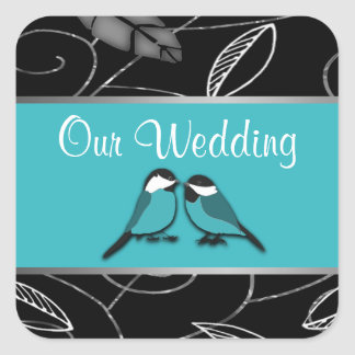 Pool Blue & Black Love Birds Wedding Seals Square Sticker