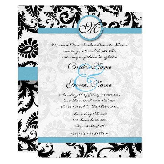 Pool Blue Damask Swirls Wedding Invitation 5 x 7