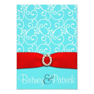 Pool Blue Amp Red Damask Swirl Wedding Invitations
