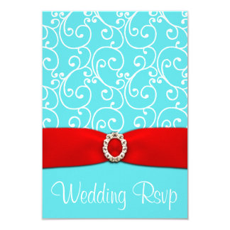 Pool Blue & Red Damask Swirl Wedding RSVP Cards
