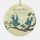 Pool Blue Vintage Love Birds Christmas Ornament