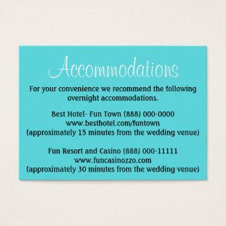 Pool Blue Wedding Accommodation - Reception Cards
