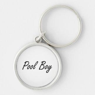 Pool Boy Artistic Job Design Silver-Colored Round Keychain