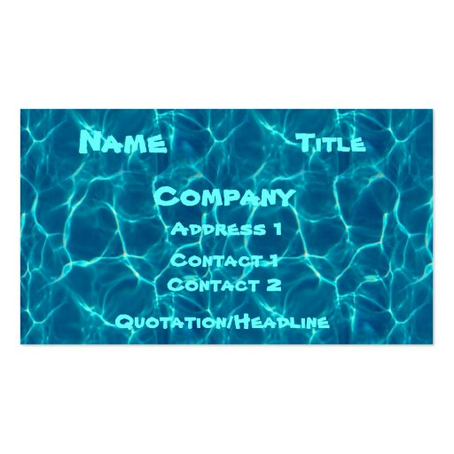 Pool Card Business Cards