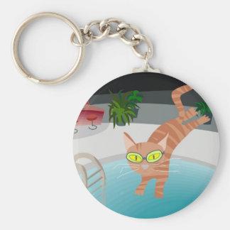 Pool cat basic round button keychain