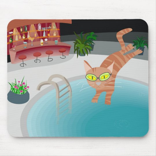 pool cat mouse pad