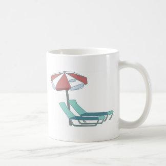 Pool Chairs and Umbrella Coffee Mug