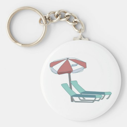 Pool Chairs and Umbrella Basic Round Button Keychain