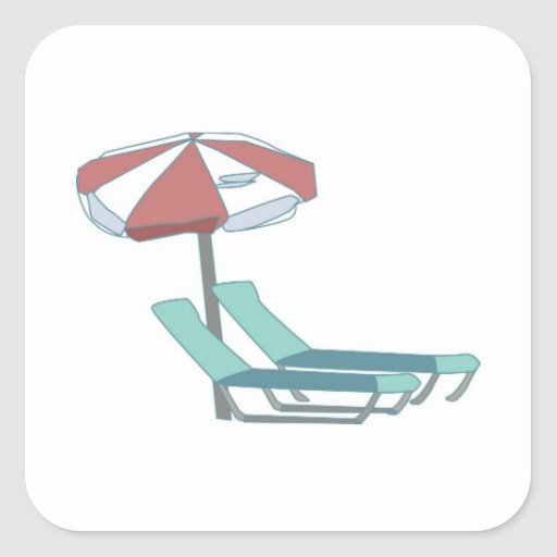 Pool Chairs and Umbrella Square Sticker