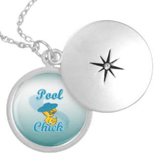 Pool Chick #3 Silver Plated Necklace