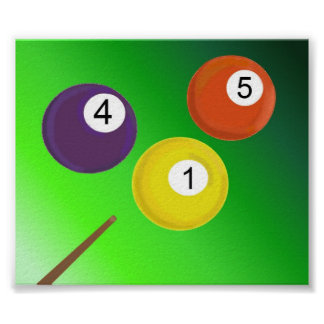 Pool Cue and Balls Poster