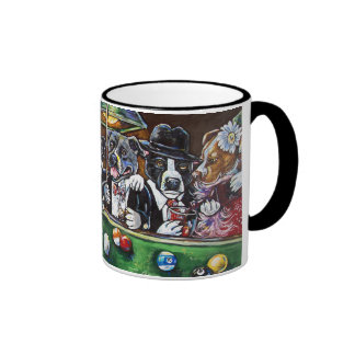Pool Dogs Ringer Coffee Mug