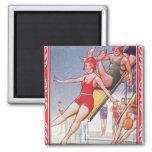 Pool Fun Vintage Fridge Magnet