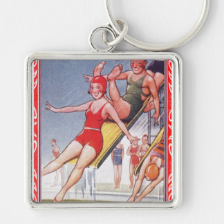 Pool Fun Vintage Silver-Colored Square Keychain