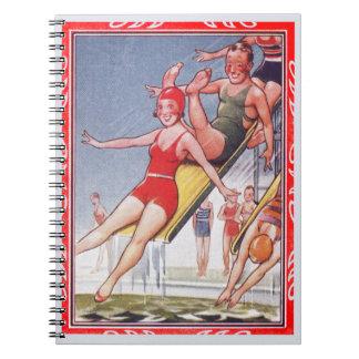 Pool Fun Vintage Spiral Notebook