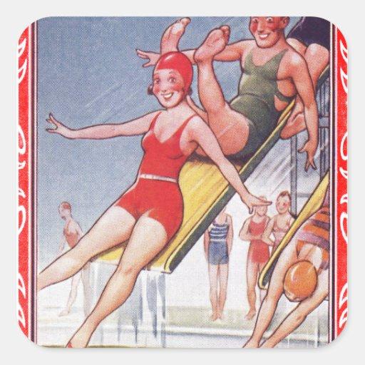 Pool Fun Vintage Stickers