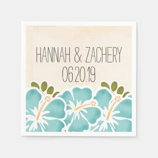 Pool Hibiscus Hawaiian Wedding Paper Napkin