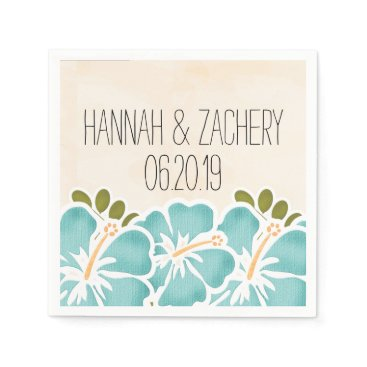 Beach Themed Pool Hibiscus Hawaiian Wedding Paper Napkin