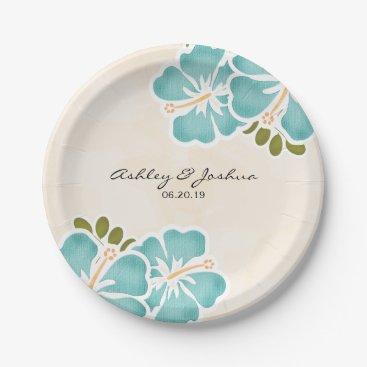 Beach Themed Pool Hibiscus Hawaiian Wedding Paper Plate