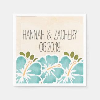 Pool Hibiscus Hawaiian Wedding Standard Cocktail Napkin