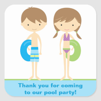 Pool Kids Party Stickers Sticker
