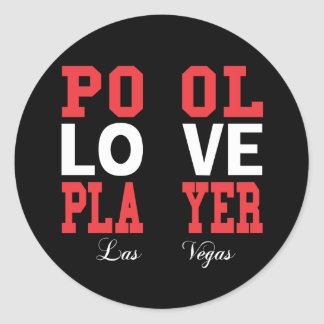 Pool Love Player Classic Round Sticker