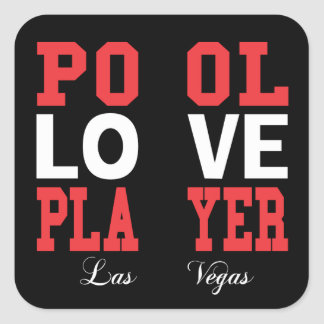 Pool Love Player Square Stickers