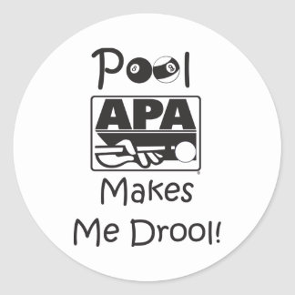 Pool Makes Me Drool Classic Round Sticker
