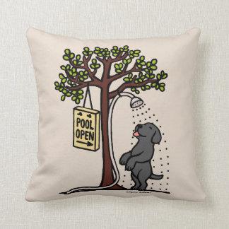 Pool Open Black Labrador Cartoon Throw Pillow