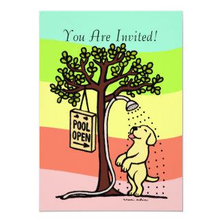 Pool Open Fun Yellow Labrador Cartoon Card