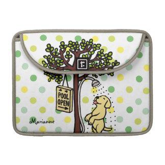 Pool Open Fun Yellow Labrador Cartoon MacBook Pro Sleeves