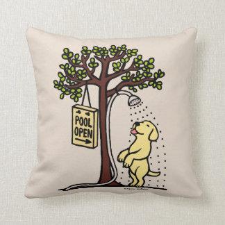 Pool Open Yellow Labrador Cartoon Throw Pillow