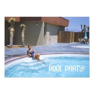 Pool Party 1950's Theme 5x7 Paper Invitation Card