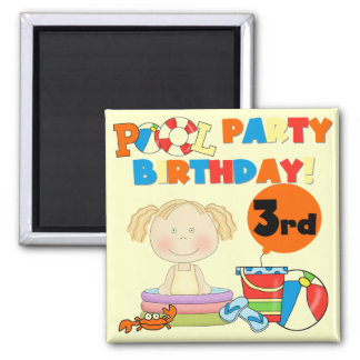 Pool Party 3rd Birthday T-shirts and Gifts Magnet