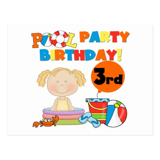 Pool Party 3rd Birthday T-shirts and Gifts Postcard