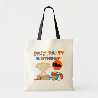 Pool Party 4th Birthday Tshirts and Gifts Canvas Bags