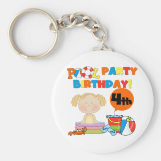 Pool Party 4th Birthday Tshirts and Gifts Basic Round Button Keychain