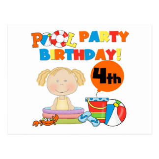 Pool Party 4th Birthday Tshirts and Gifts Postcard