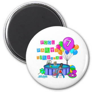 Pool Party 7th Birthday Magnet