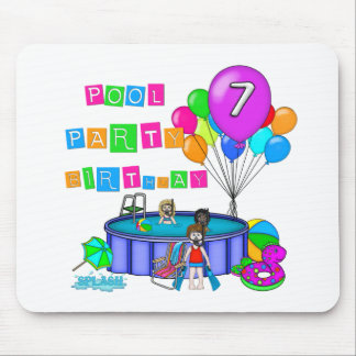 Pool Party 7th Birthday Mouse Mats