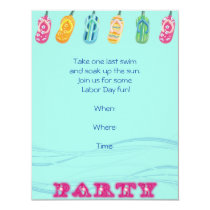 Pool Party and Flip Flops on Blue Wave Background Invitation