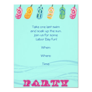Pool Party and Flip Flops on Blue Wave Background 4.25x5.5 Paper Invitation Card