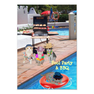 Pool Party & BBQ 3.5x5 Paper Invitation Card
