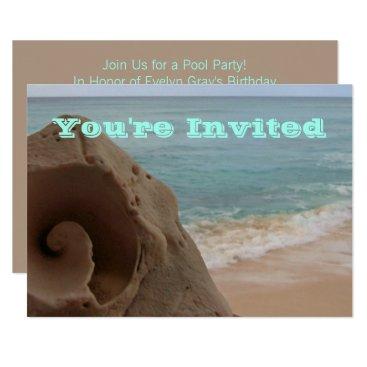 Beach Themed Pool Party   Beach Theme Birthday Seashell Card