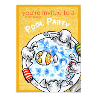 Pool Party Bikini Manatees Off-Leash Art™ Yellow Card
