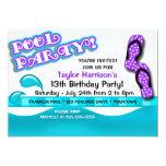 "Pool Party Birthday 5"" X 7"" Invitation Card"