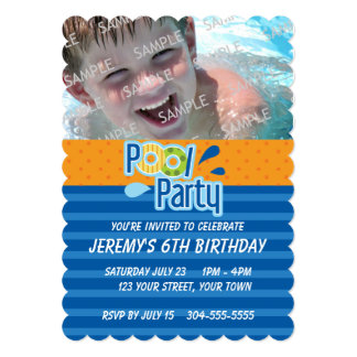 Pool Party Birthday 5x7 Paper Invitation Card